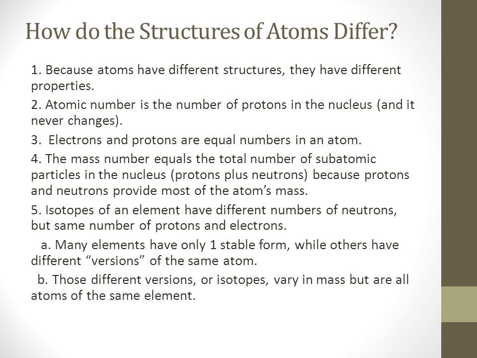 How do the Structures of Atoms Differ