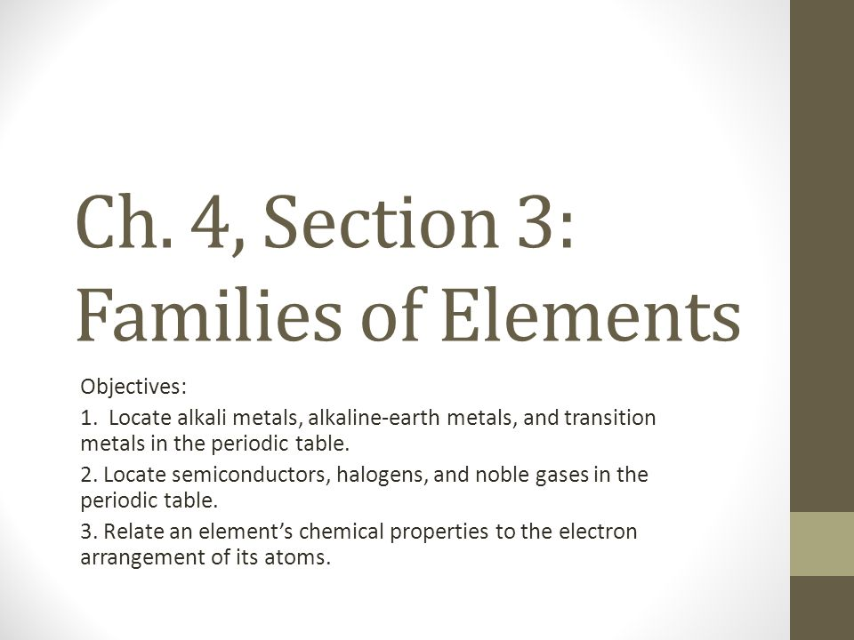 Ch. 4, Section 3: Families of Elements
