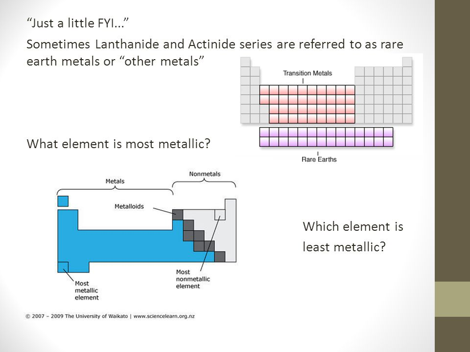 Just a little FYI... Sometimes Lanthanide and Actinide series are referred to as rare earth metals or other metals What element is most metallic.