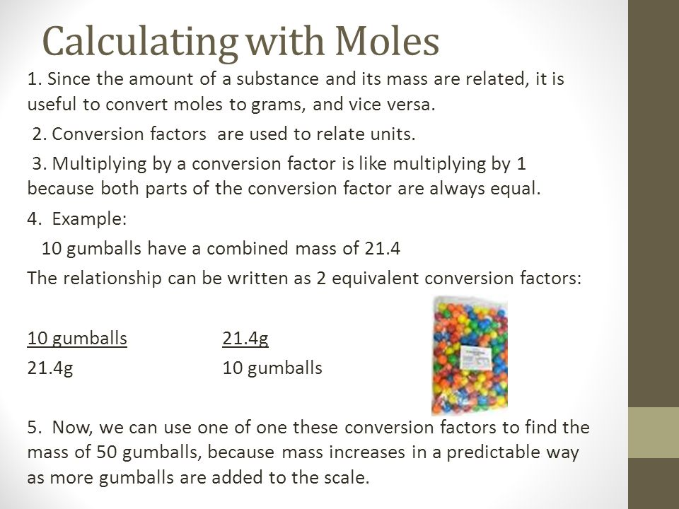 Calculating with Moles
