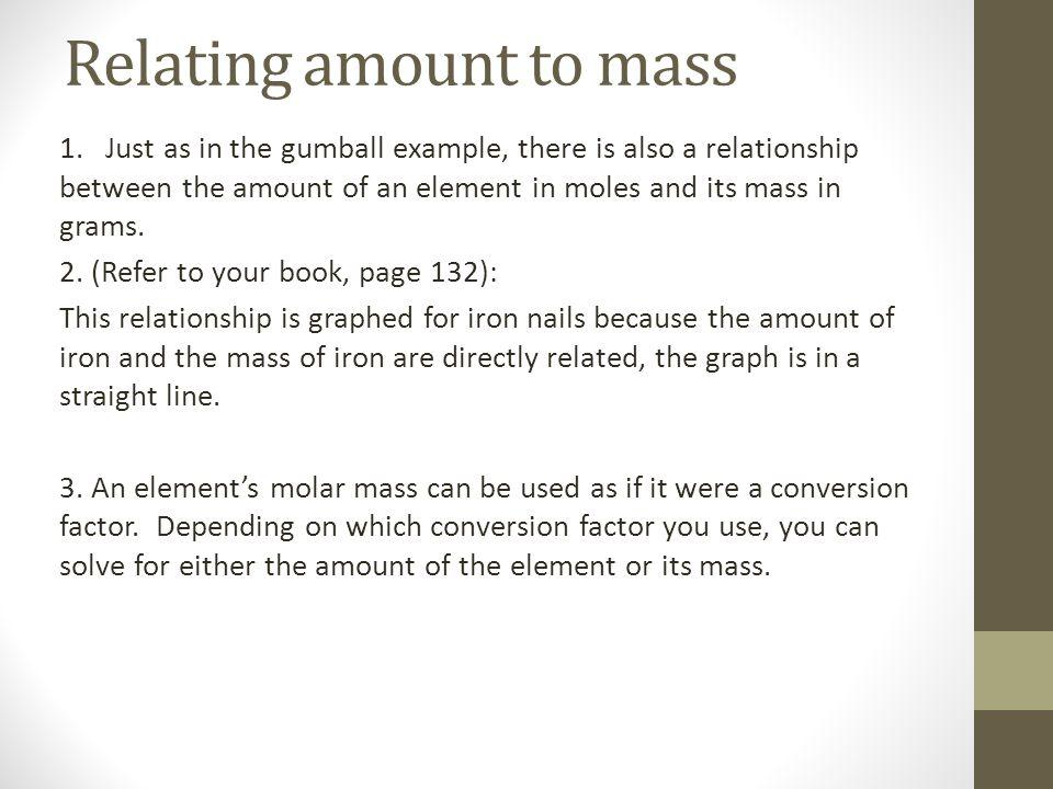 Relating amount to mass