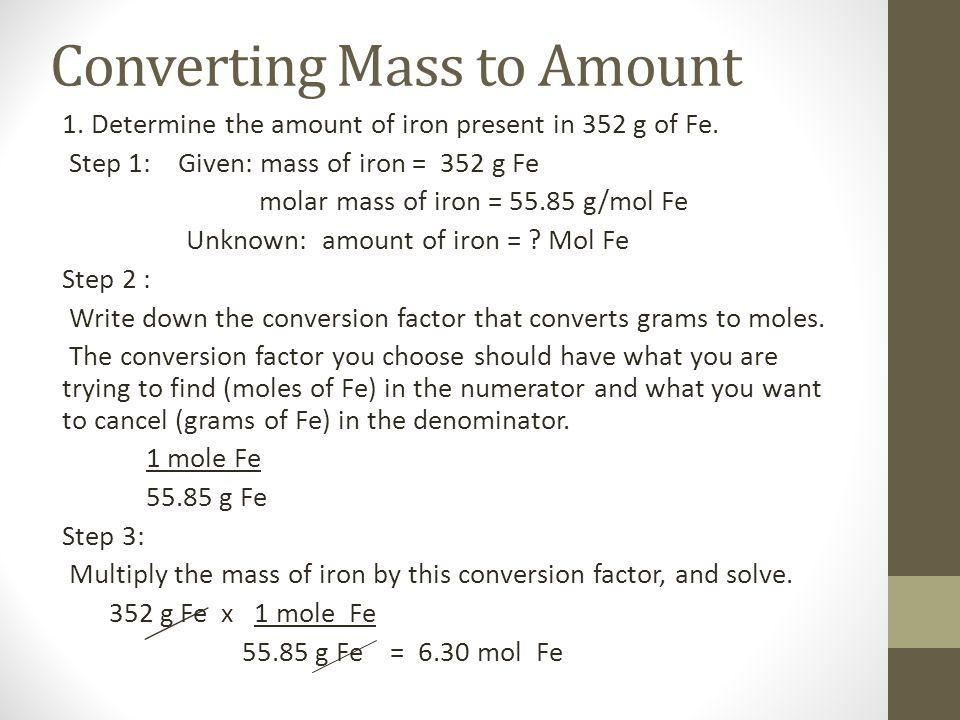 Converting Mass to Amount