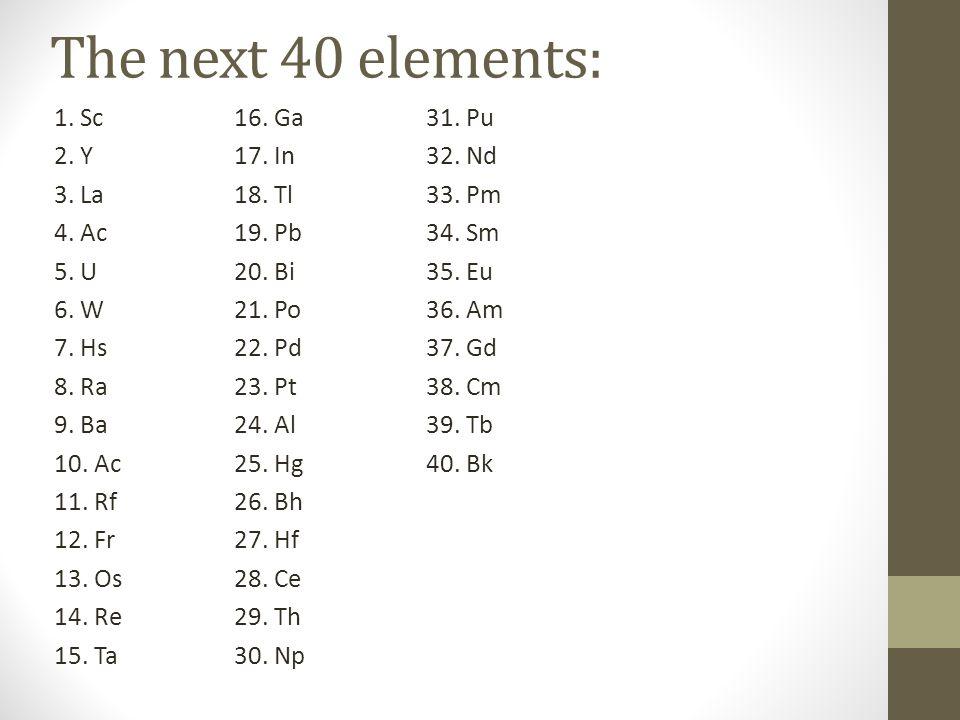 The next 40 elements: