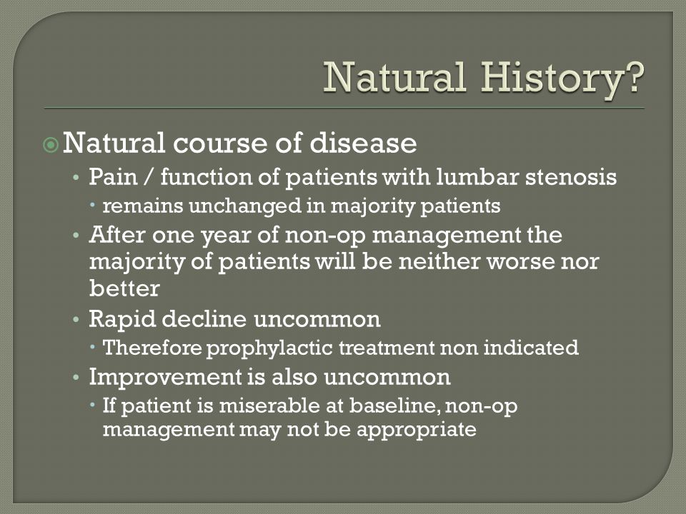 Natural History Natural course of disease