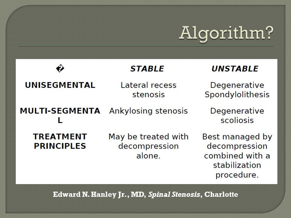 Algorithm Edward N. Hanley Jr., MD, Spinal Stenosis, Charlotte