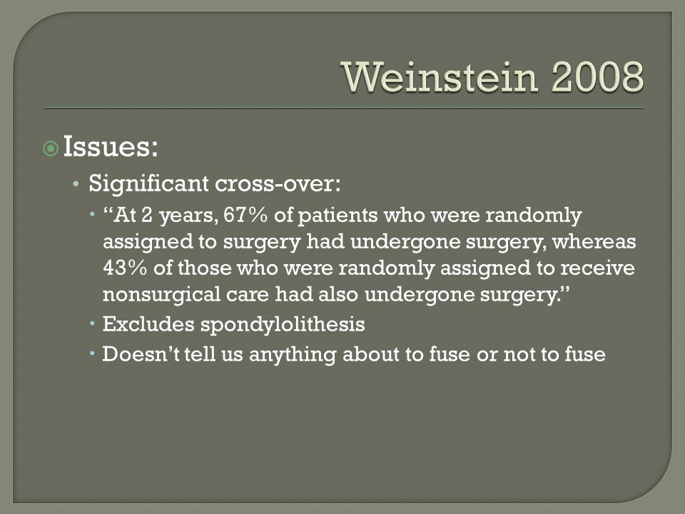 Weinstein 2008 Issues: Significant cross-over:
