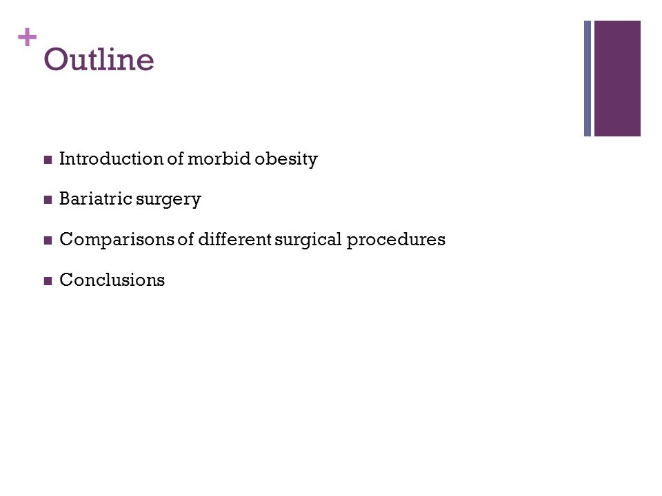 Outline Introduction of morbid obesity Bariatric surgery