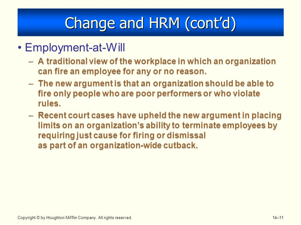 Change and HRM (cont'd)