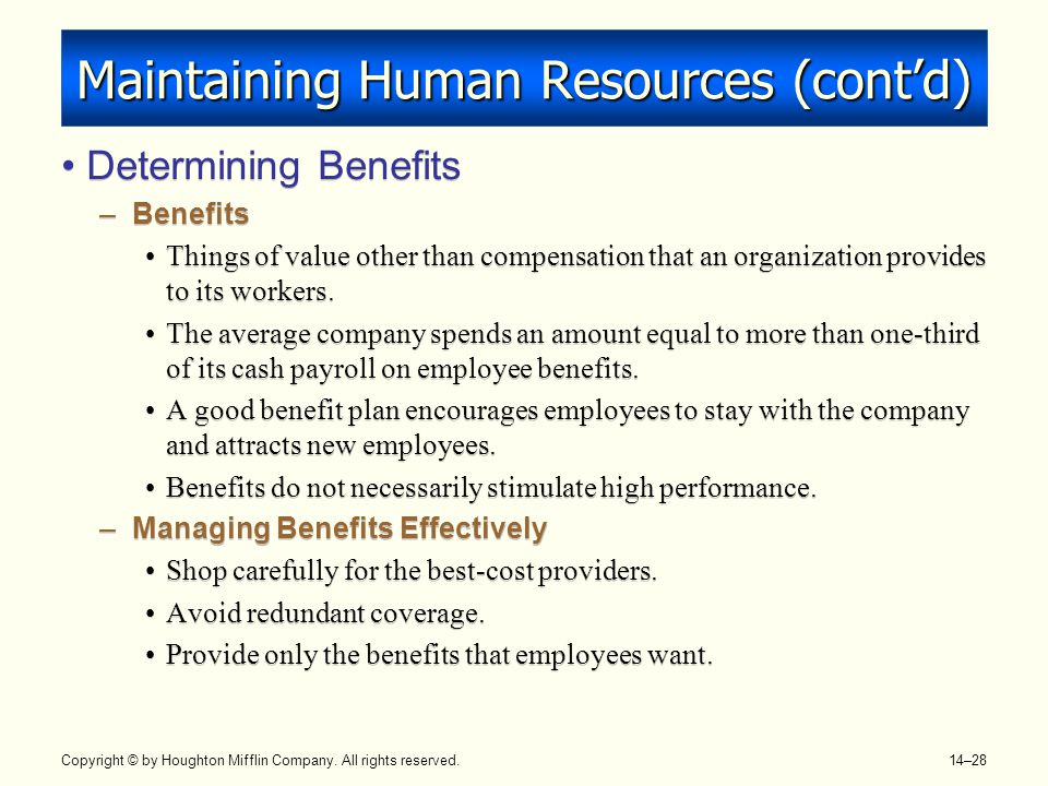 Maintaining Human Resources (cont'd)