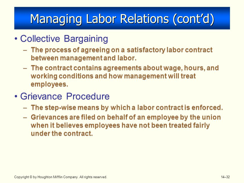 Managing Labor Relations (cont'd)