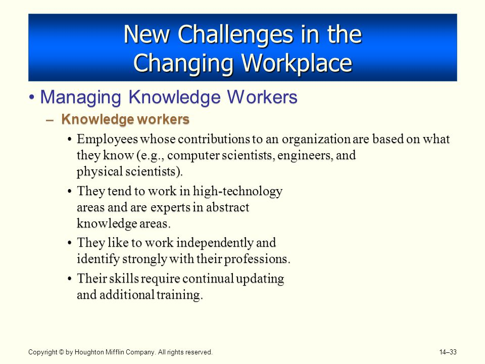 New Challenges in the Changing Workplace