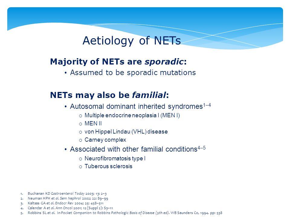 Aetiology of NETs Majority of NETs are sporadic: