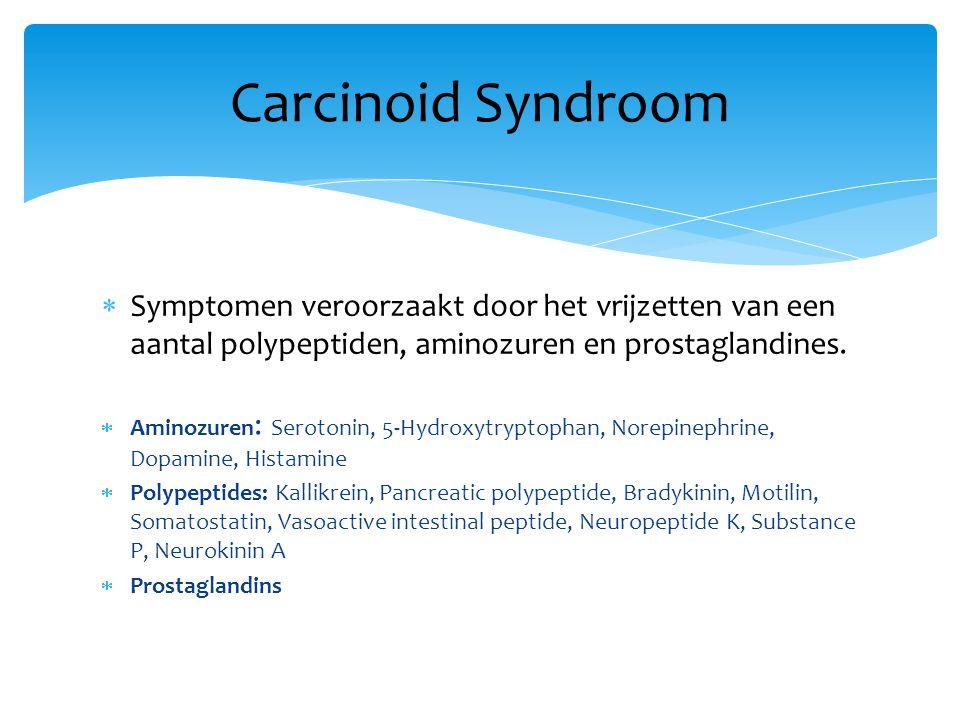 Carcinoid Syndroom Symptomen veroorzaakt door het vrijzetten van een aantal polypeptiden, aminozuren en prostaglandines.