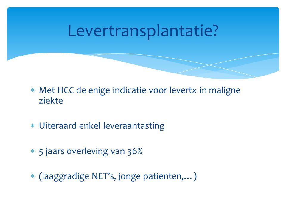Levertransplantatie Met HCC de enige indicatie voor levertx in maligne ziekte. Uiteraard enkel leveraantasting.