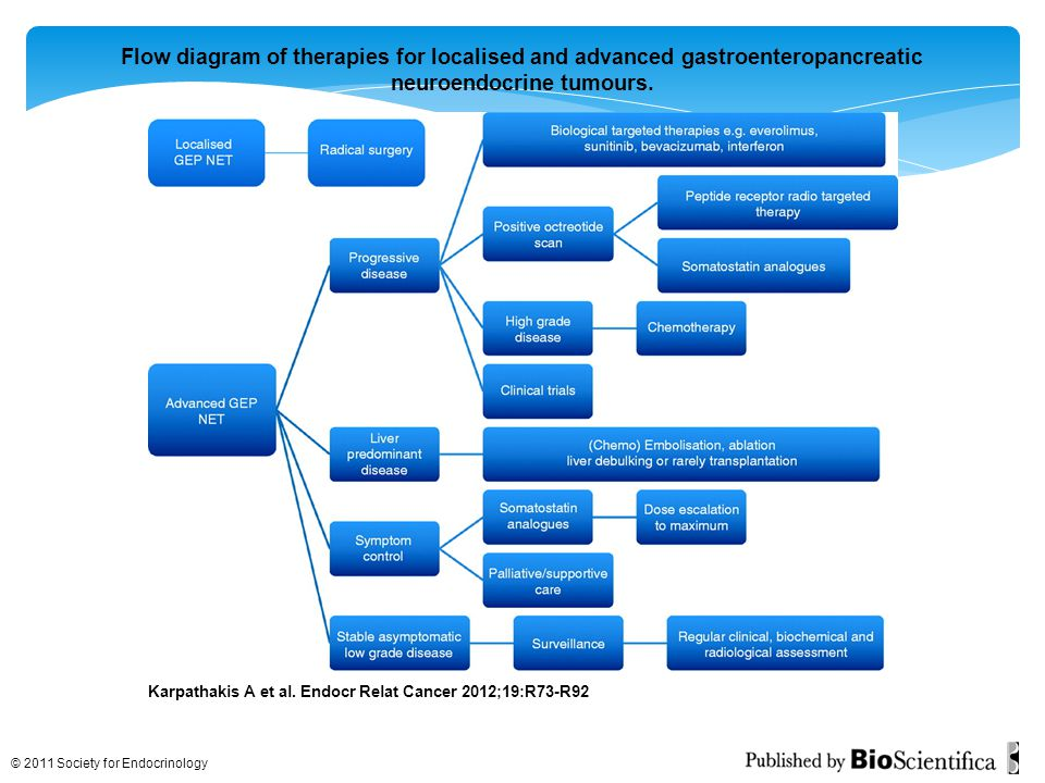Flow diagram of therapies for localised and advanced gastroenteropancreatic neuroendocrine tumours.