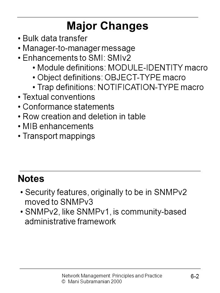 Major Changes Notes Bulk data transfer Manager-to-manager message
