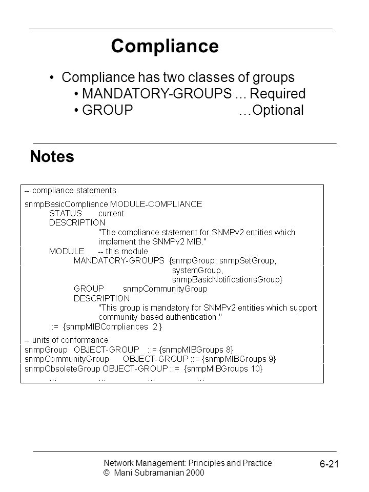 Compliance Notes Compliance has two classes of groups