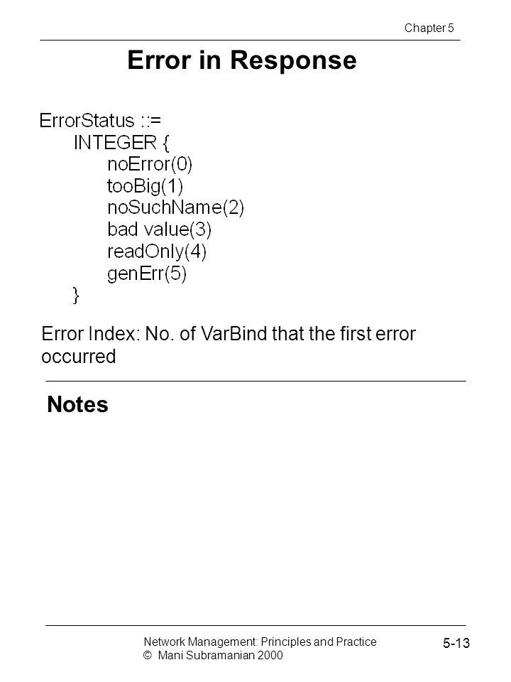 Error in Response Notes