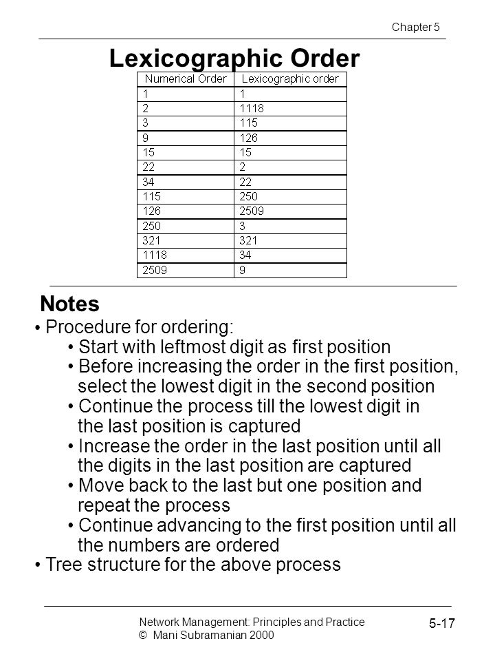 Lexicographic Order Notes Procedure for ordering: