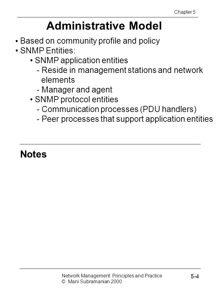 Administrative Model Notes Based on community profile and policy