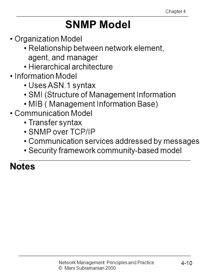 SNMP Model Notes Organization Model
