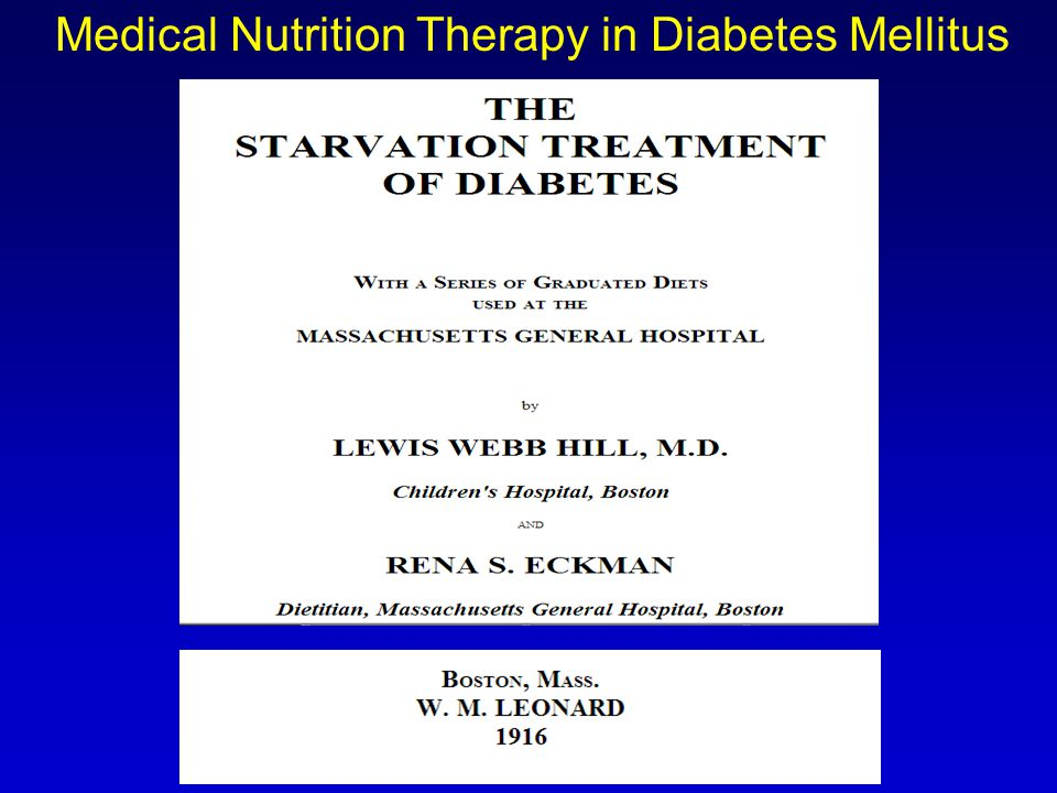 medical nutrition therapy for diabetes The primary goal of medical nutrition therapy for diabetes is to promote optimal blood glucose control adequate calories and nutrient needs should be provided to promote a healthy weight.