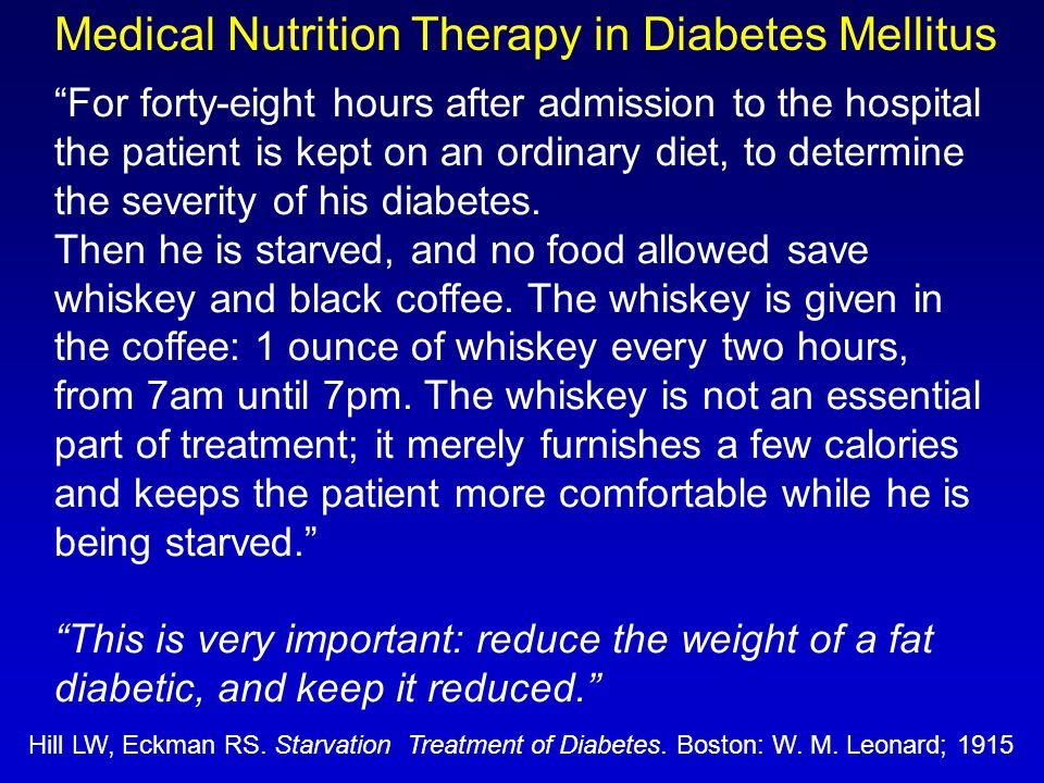 Medical Nutrition Therapy in Diabetes Mellitus