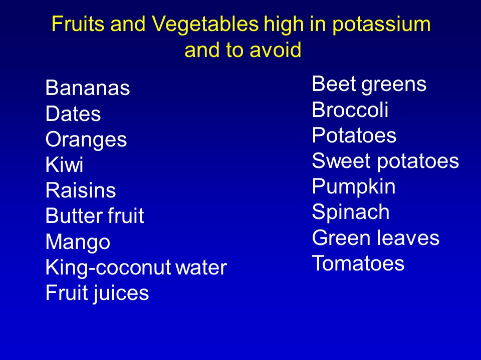Fruits and Vegetables high in potassium