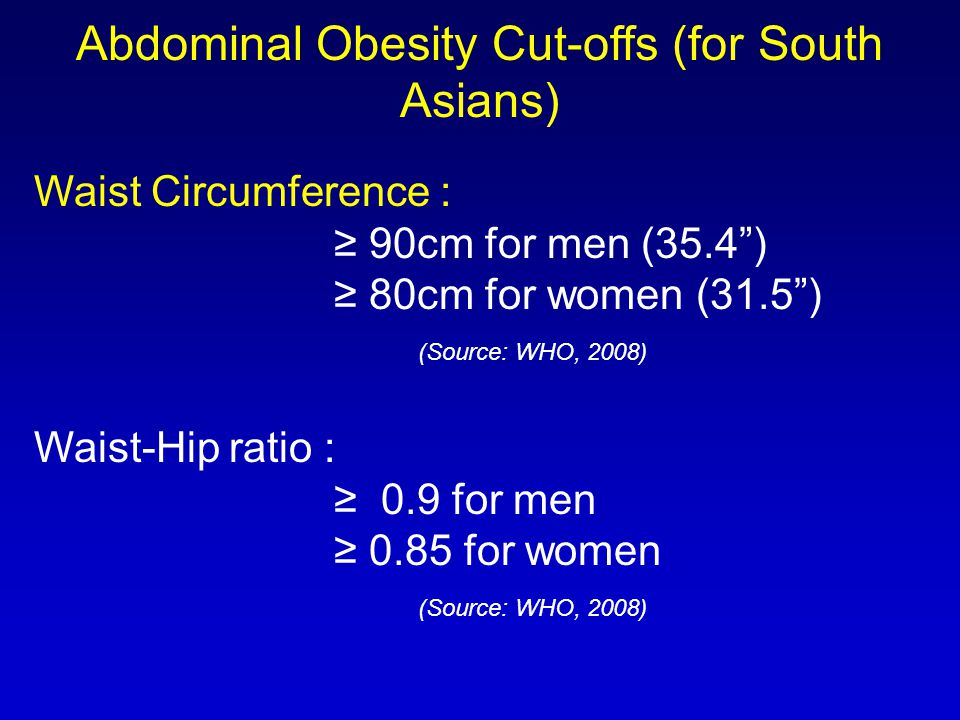 Abdominal Obesity Cut-offs (for South Asians)