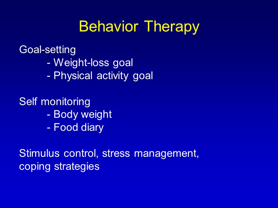Behavior Therapy Goal-setting - Weight-loss goal