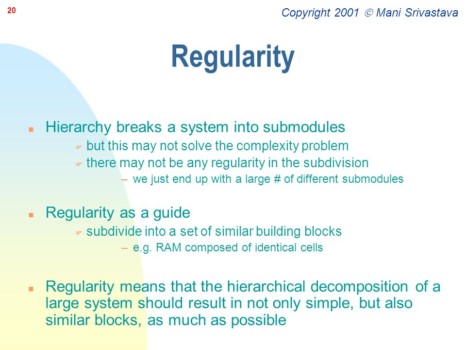 Regularity Hierarchy breaks a system into submodules