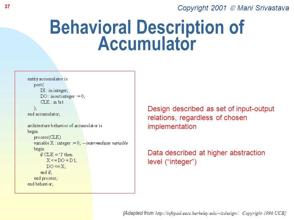 Behavioral Description of Accumulator