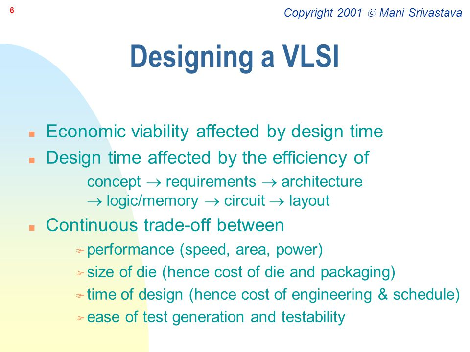 Designing a VLSI Economic viability affected by design time