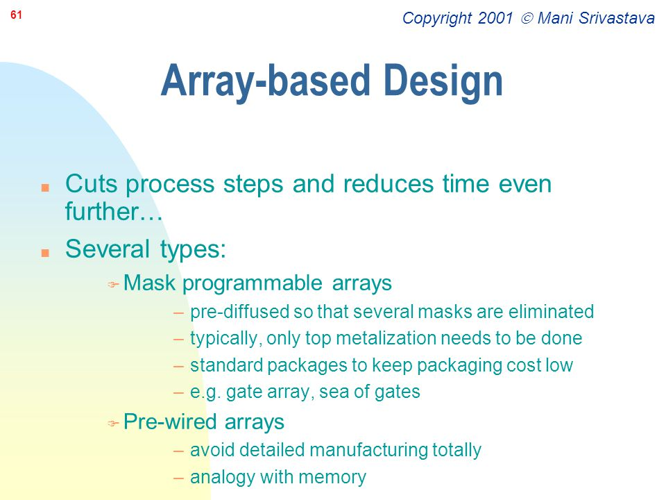 Array-based Design Cuts process steps and reduces time even further…