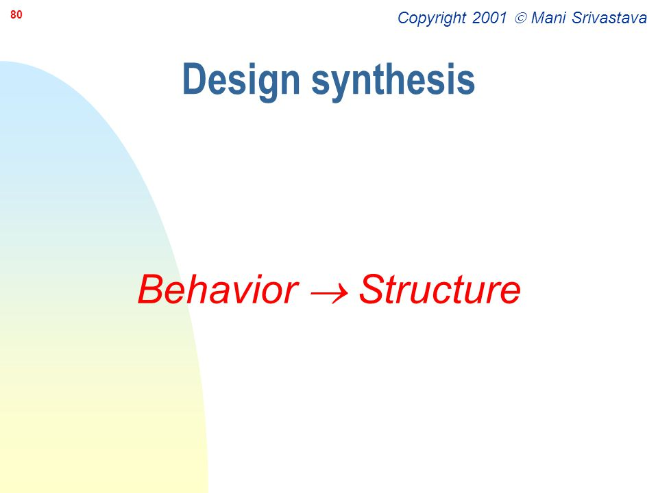 Design synthesis Behavior  Structure