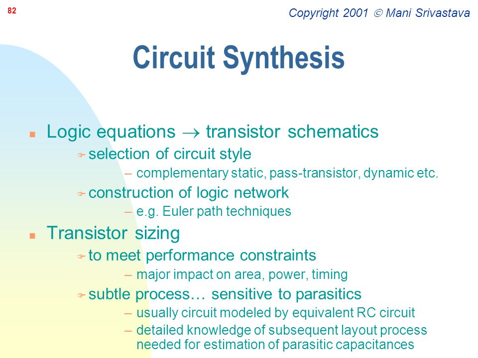 Circuit Synthesis Logic equations  transistor schematics