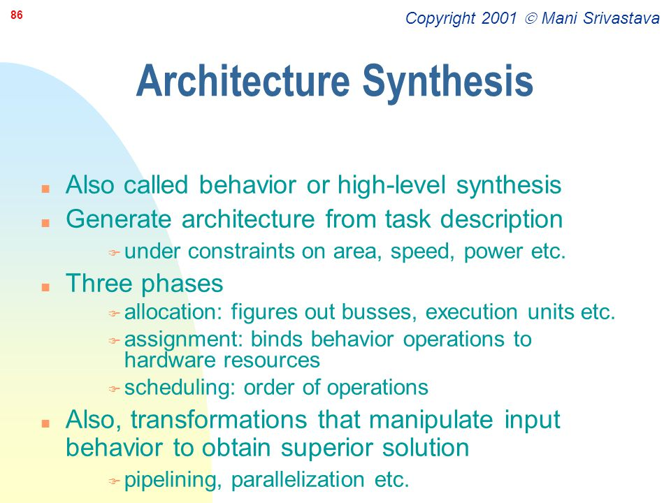 Architecture Synthesis