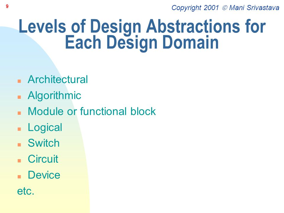 Levels of Design Abstractions for Each Design Domain