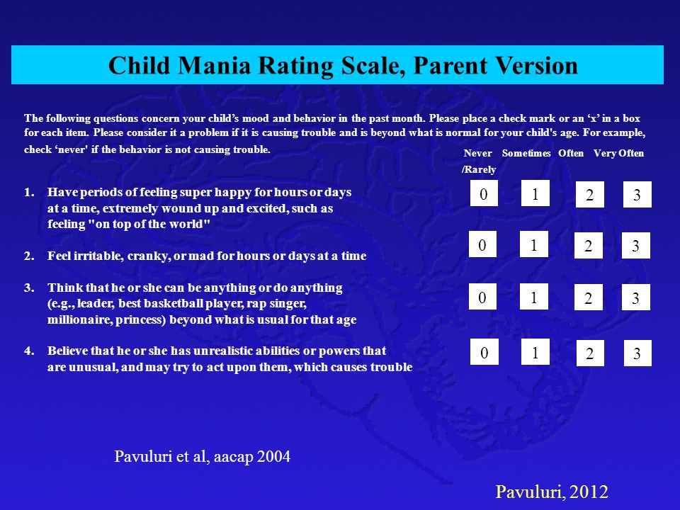 Child Mania Rating Scale, Parent Version