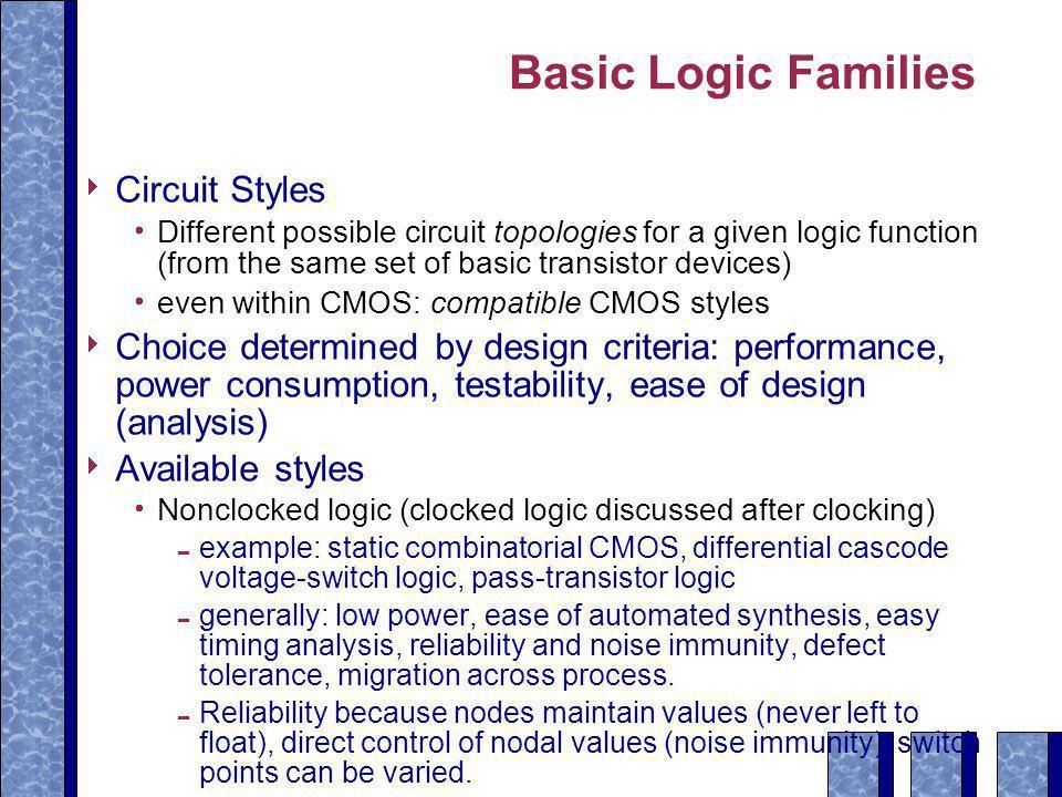 Basic Logic Families Circuit Styles