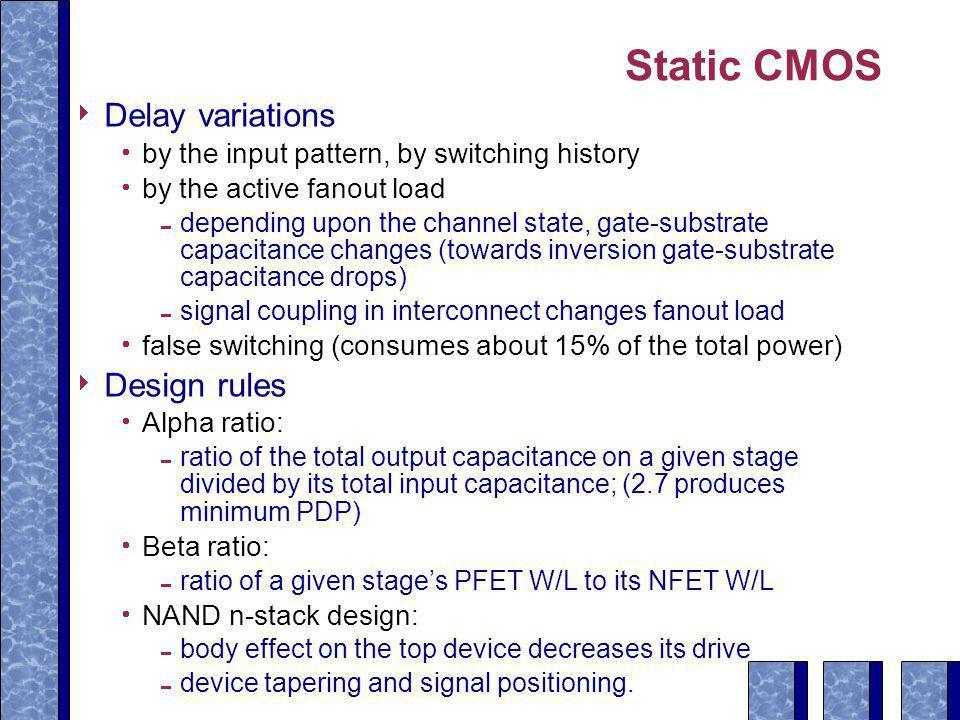Static CMOS Delay variations Design rules
