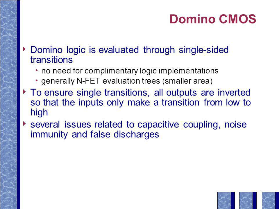 Domino CMOS Domino logic is evaluated through single-sided transitions