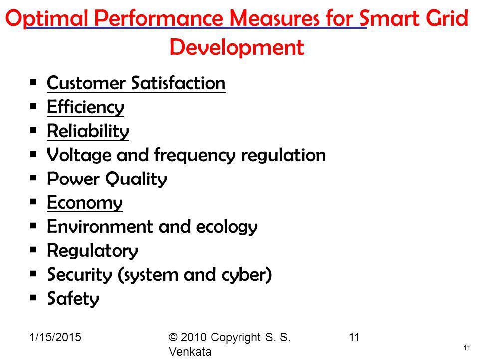 Optimal Performance Measures for Smart Grid Development