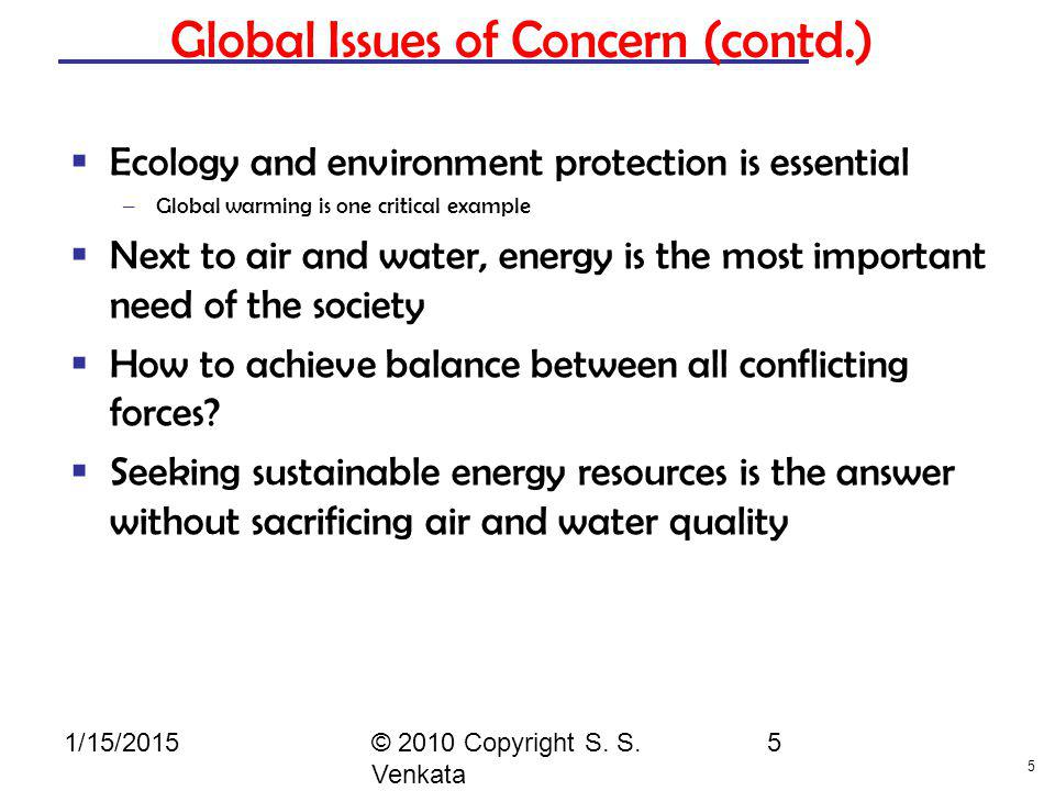 Global Issues of Concern (contd.)