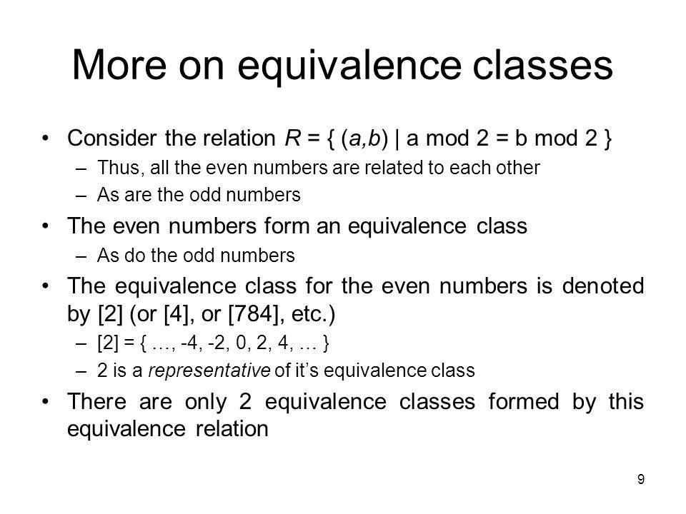 More on equivalence classes