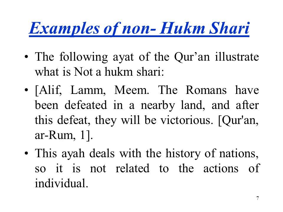 Examples of non- Hukm Shari
