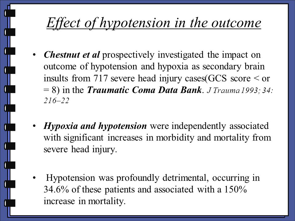 Effect of hypotension in the outcome
