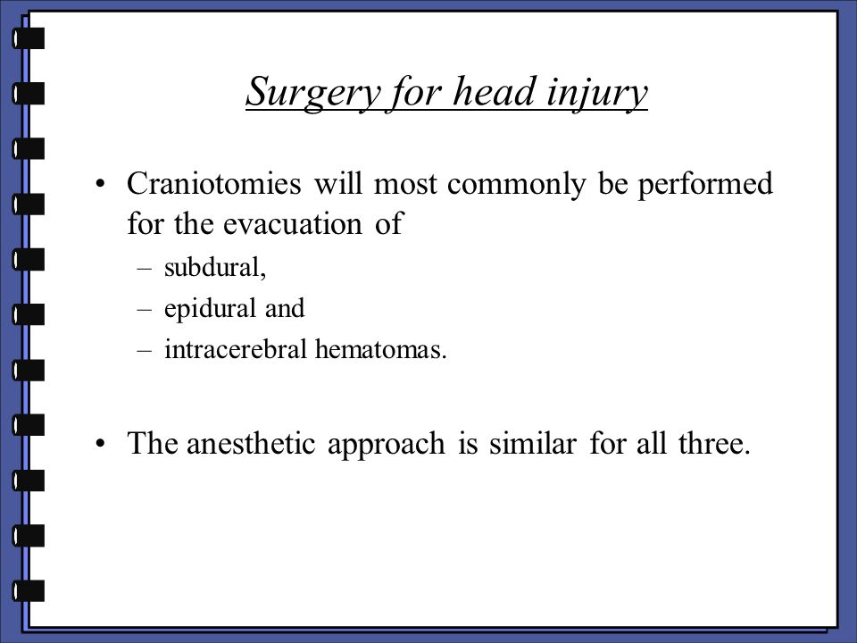 Surgery for head injury