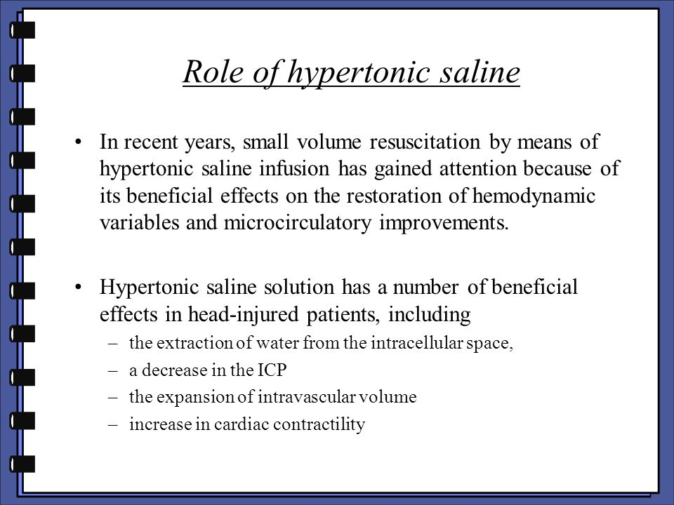 Role of hypertonic saline