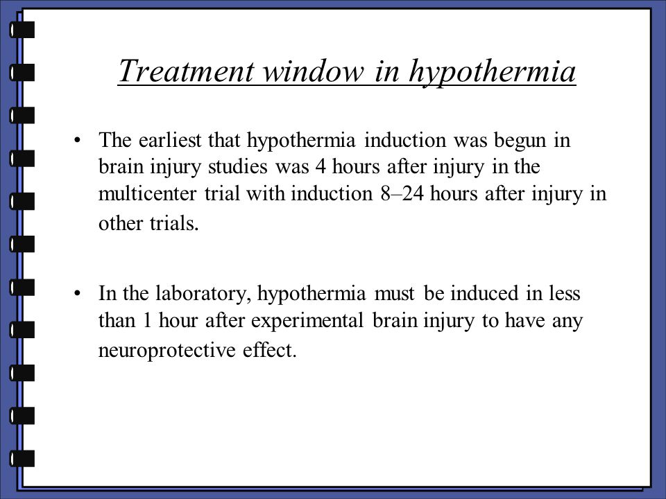 Treatment window in hypothermia